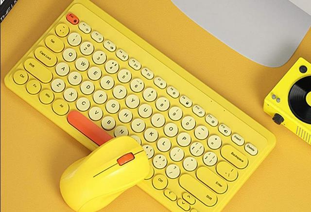 bonkyo Bluetooth Keyboard Set wireless Keyboard Kartun Lucu dan Imut Set KB12